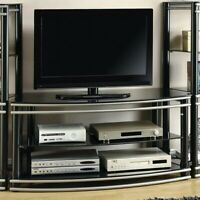 """Coaster 2 Tier 47"""" Glass Top TV Stand in Black and Silver"""