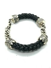 Leather Lanyard Bracelet 7.5in Length King Baby Studio Double Silver And
