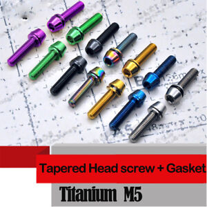 10pcs Titanium M5 X16/18/20mm Screw bike Tapered Head Bolts with Gaskets