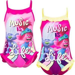 Costume da bagno da bambina Trolls un pezzo intero 4 5 6 8 anni bimba mare