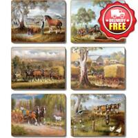 Cinnamon Working Horses Cork Backed Coasters | Set of 6pcs