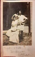 Vintage 1910 Mini RPPC Photo Postcard People from TONKAWA Kay County OKLAHOMA