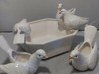 1975 Fitz and Floyd White Dove Bird Planter Bowl & 2 Dove Planters Set