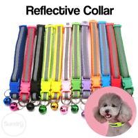 Reflective Adjustable Dog Collar Hi-Vis Puppy Nylon Medium Pet FREE BELL UK