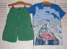 Mini Boden Green Summer Cargo Shorts Adventure Car Chase Shirt Outfit 6 7 8
