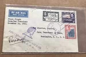 Fiji 1941 FFC to US +Tri-Color KFVI Franking SG +Suva to SF +US Consul Seal