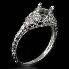VINTAGE ART DECO DIAMOND ENGAGEMENT RING SEMI-MOUNT SETTING 6MM 1CT ROUND FLORAL