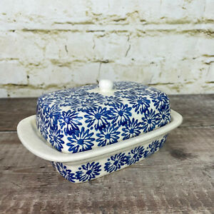 Sainsbury Home Blue And White Butter Dish Ceramic with Lid