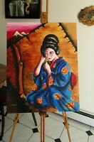 "ACRYLIC ON CANVAS PAINTING ""MEMOIRS OF A GEISHA"" 2000 SIGNED; 20"" x 16"" UNFRAMED"