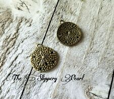 Sand Dollar Charms Ocean Charms Antiqued Bronze Sand Dollar Charms Nautical 10pc