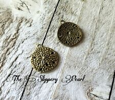 10 Sand Dollar Charms Ocean Charms Antiqued Bronze Sand Dollar Charms Nautical