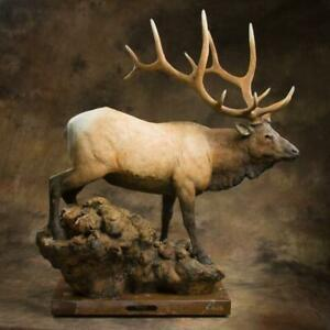 Jack Muir Imperial Bull Elk Large Bronze Sculpture Mable Base Limited Edition