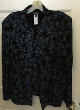 2 Piece XSCAPE Jacket & Top Set Black Knit With Beautiful Blue Sequin Petite L