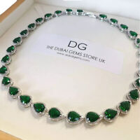 White gold finish pear cut green emerald and created diamond necklace gift boxed