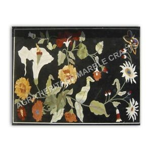 4'x3' Black Marble Contemporary Table Top Marquetry Inlay Floral Home Decor E968