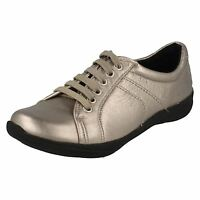 **SALE** LADIES K BY CLARKS ETNA MUSK PEWTER LEATHER LACE UP SHOES  E FITTING
