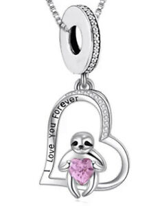 SLOTH PINK HEART I LOVE YOU FOREVER CHARM GIFT 925 STERLING SILVER 💜💛💜