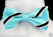 Turquoise Navy White Striped Mens Bow Tie Wedding Adjustable Fashion Necktie New
