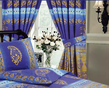 "KASHMIR GOLD BLUE FLORAL 66"" X 72"" PENCIL PLEAT CURTAINS MIDDLE EASTERN ETHNIC"