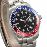40mm BLIGER RED/BLUE Bezel GMT Luminous sapphire mechanical automatic mens watch