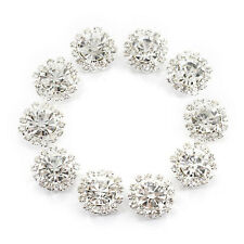 Crystal Rhinestone Button Flat back Decoration DIY 15mm 10 Pcs Clear G8U6