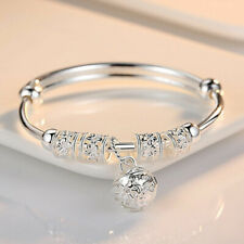 925 Sterling Silver Plate Bead Bracelet Women Ladies Bangle Charm Jewellery Gift