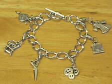 Silver-Tone Sewing/Knitting/Knitter Toggle Charm Bracelet Spinning Wheel/Yarn+