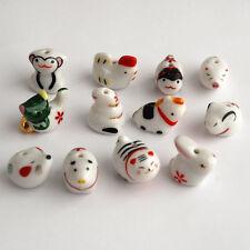 Porcelaine chinoise céramique / 12 perles animaux zodiac