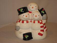 """NEW, St. Nicholas Square  Cookie Jar """"Tree Lot"""" Pattern, 3 Snowman"""