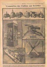 Exposition Trophées aux Invalides Casque à pointe Pickelhaube Zeppelin WWI 1915