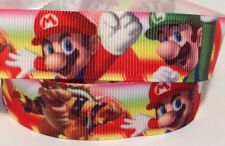 Grosgrain Ribbon 1 Mtr - Mario Bros And Luigi Ribbon 22 Mm