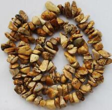"4-7mm freeform yellow picture stone loose beads strand gemstones Diy jewelry#16"""