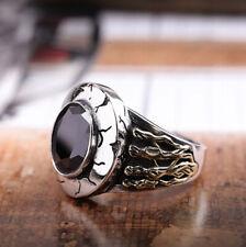 I01 Ring Sterling Silber 925 Engelsflügel Engel Herz schwarzer Achat