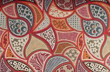 (EUR 24,00/m) Gobelinstoff grafisches Muster Beige Rot 0,50m x 1,40m (Art 1000)