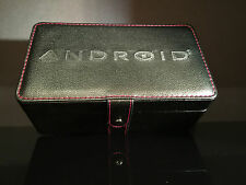 Android Black 3 Slot Display Case Collectors Box Red Stitching Awesome!!