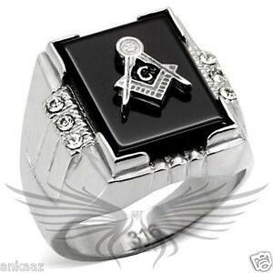Men's Masonic Freemason Ring Stainless Steel Agate Crystals Accented TK8X027