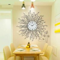 Metal Wall Clock Digital Hanging Watch Home Accent Living Room Dining Decoration