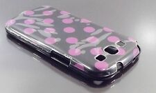 SAMSUNG Galaxy S3 i9300 Nero con Puntini Viola pelle caso coprire MACCHIE Polka