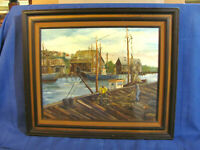 Vintage East Gloucester Harbor / Cape Ann School Oil Painting