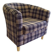 TUB CHAIR IN CHARCOAL LANA TARTAN FABRIC