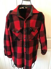 Vintage Woolrich Mens Red Buffalo Plaid Wool Shirt Hunting Jacket Size L
