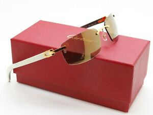 "CARTIER ""Buffs"" CT0046S 004 Gold-White Buffalo Horn C-Decor Rimless Sunglasses"