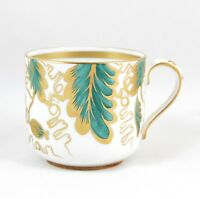 COFFEE DEMITASSE CAN GROSVENOR BONE CHINA DALKEITH A490 GOLD GREEN HAND PAINTED