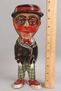 Antique 1930s Marx HAROLD LLOYD Wind Up Mechanical Tin Litho Funny Face Toy