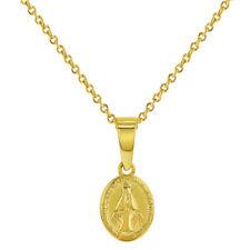 18k Chapado en Oro Ovalado Milagroso Virgen María Medalla Collar Colgante Chicas