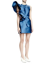NWT NEW Lanvin Structured Ruffle Duchess Satin Dress 42 10 Pristine Blue $3190