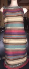 Ralph Lauren women medium striped linen sweater sleeveles dress southwestern new