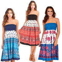 Ladies 2 In 1 Strapless Cotton Bandeau Beach Summer Sun Dress Long Maxi Skirt