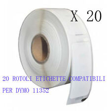 20 X Etichette Compatibili per DYMO 11352 54mmX25mm S0722520 LABELWRITER 400 450