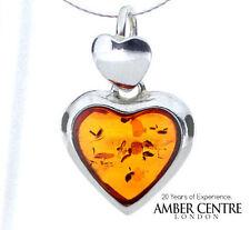 Heart Shaped Baltic Amber 925 Silver Pendant  - PE0002 RRP£39!!!